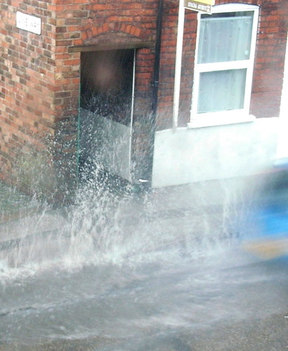 Car Splashes Past