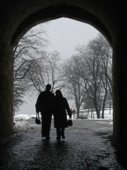 Together (photo_generator) Tags: trees winter snow love silhouette loving happy hands couple europe arch peace serbia peaceful romance relationship together sharing bags belgrade relaxed share partners kalemegdan