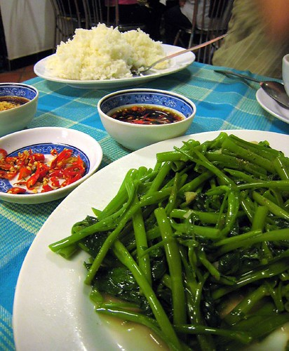 Morning glory with spicy soy dipping sauce and rice