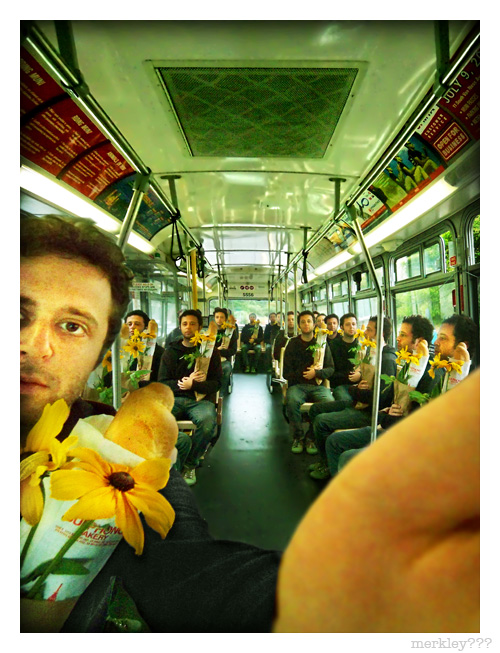 Noah K - Fake Self Portrait on The Bus With A Bunch of Other Fake Noahs Because He is Famous For The Biggest YouTube Video of All Time Which Features 2356 Photos of Himself