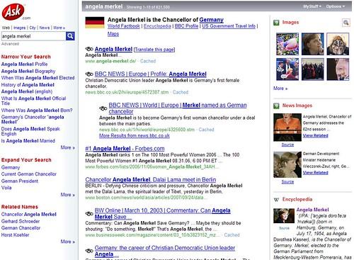 "Suchergebnis ""Angela Merkel"" bei Ask.com (USA-Version)"