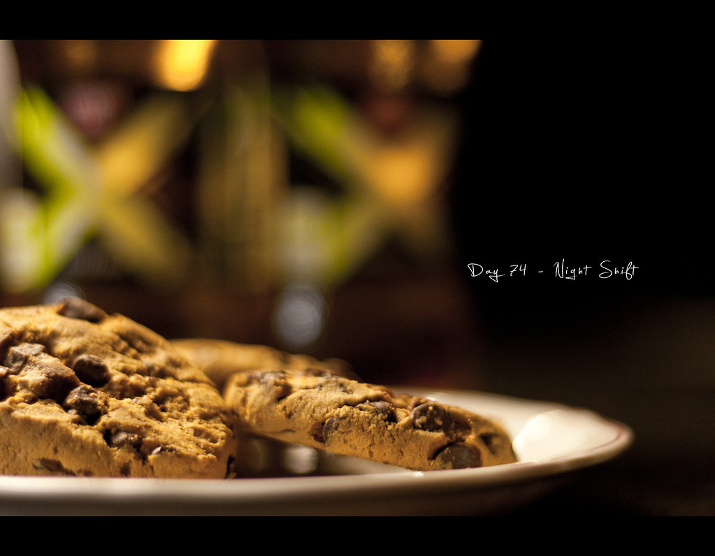 Project 365, Canon 50mm, Day 74, 074/365, bokeh, cookies, red bull, energy drink, kitchen, Night Shift