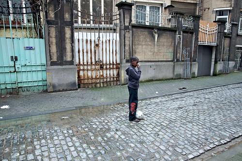a boy in the street