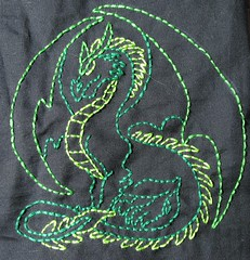 Green dragon embroidery - sneak peek 2