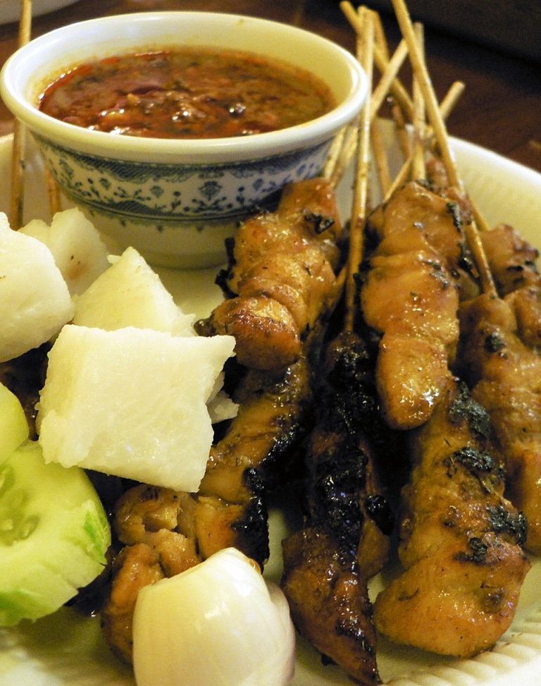 satay and ketupat