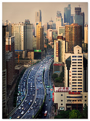 urban freeway (staffh) Tags: china city urban building tower skyline skyscraper skyscrapers shanghai motorway towers staff freeway metropolis tall expressway  shanghaiist density dense puxi plaza66 parkplace urbanity yanan  yananexpressway  donghaiplaza