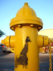 giraffe sighting (Esther17) Tags: newmexico yellow hydrant graffiti albuquerque utata giraffe yella nobhill photostrollwithscoutdottiedaveelorafinadamandsarah