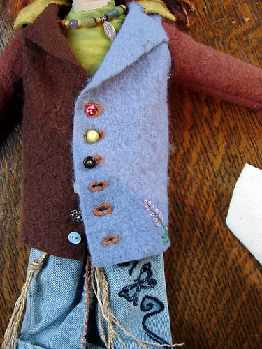 felt coat embellished artdoll