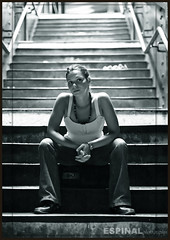 Urban Girl (Espinal Photography) Tags: urban newyork girl station stairs subway blackwhite sitting elizabeth nikond70 queens estacin escaleras 50mmf14 aplusphoto espressionidellanima