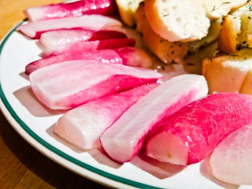 Sautéed Radishes with Thyme-Garlic Bread