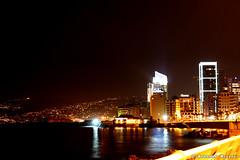 Beirut, Al-manara at night (Mohamad Mzannar) Tags: city sea lebanon water night buildings lights beirut reflexion liban      barouth