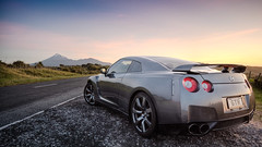 This is Driving Country (Mark Solly (F-StopNinja)) Tags: road sunset sky mountain reflection sports car shiny nissan stones mags taranaki conical gtr sigma1020mm nissangtr newzelanad nikond90 marksolly