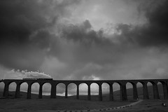 Ribblehead Viaduct (Joe Dunckley) Tags: uk england bw monochrome landscape yorkshire bridges trains nationalparks railways locomotives yorkshiredales ribbleheadviaduct ribblehead viaducts steamlocomotives ribblesdale 10faves settlecarlislerailway abigfave lpyc