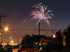 Fireworks set off on Beacon Hill on July 4, 2007. Photo by Wendi.
