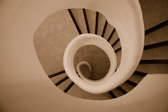 Sepia Swirl (juliaclairejackson) Tags: vacation holiday abstract coffee june sepia architecture stairs circle spiral island spain bravo soft natural interior steps spanish ibiza staircase round swirl curl organic elegant eivissa curve tones flows balearic balearics hotelhacienda lpinterior