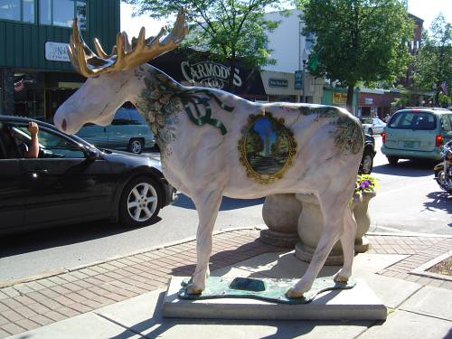 Marble monument moose