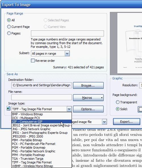 Fig. 4 - PDF XChange Viewer - Salvataggio PDF come immagini
