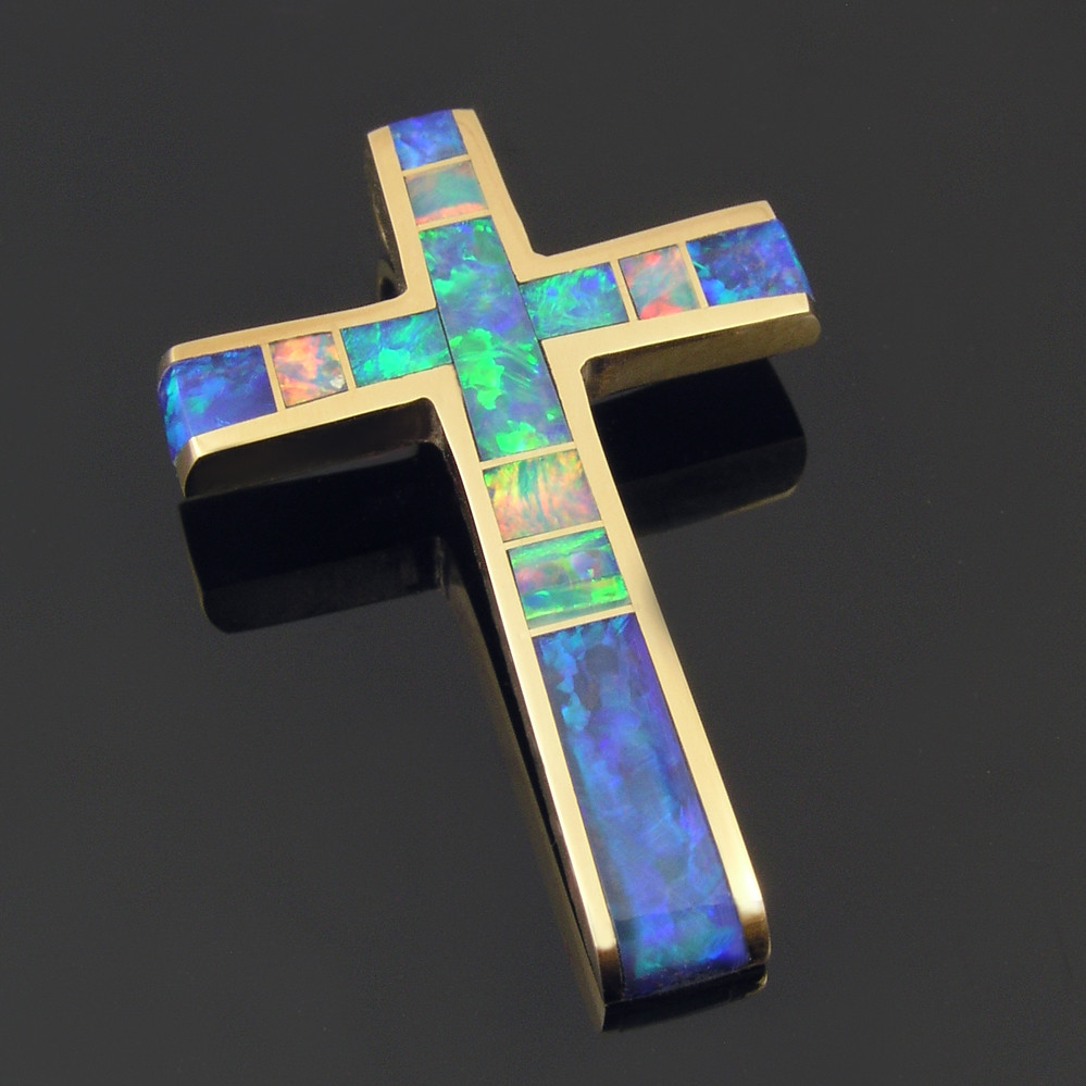 Australian opal inlay cross pendant in 14 karat gold