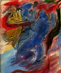 Violence-II (Shubnum Gill) Tags: blue red portrait music woman india colour art me girl painting circle nude golden women asia delhi indian fear canvas digitalpainting painter oil classical intimate gill feminist newdelhi dalit insecurity hindustani twowomen indianwomen fractalpainter abigfave mensworld shubnum shubnumgill wwwshubnumgillcom colourartsaward