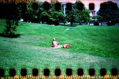Sun Worship (FatMandy) Tags: park man green 120 6x6 film grass analog 35mm naked bristol holga pants very small hill brandon semi diamond 400 format taff sprockets jessops holgamod cfn mediumformatsquare