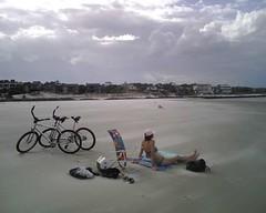 Susan, Bikes, Beach, Blowing Sand . . . Low Tide @ East Beach, St. Simons (BrianZim) Tags: stsimons stsimonsisland eastbeach blowingsand susanmerrittjordan susanmerritt