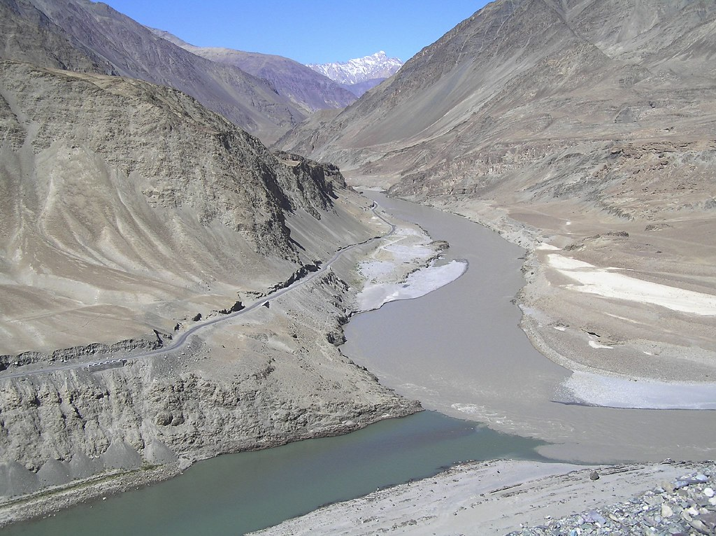 The confluence of Rivers Indus and Zanskar, Ladakh, India