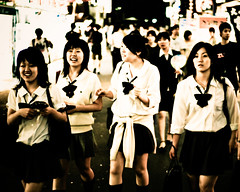 School girls in Shinjuku in the evening (manganite) Tags: city girls light people hot streets color cute sexy topf25 beauty smile fashion japan night digital geotagged asian happy japanese tokyo interestingness topf50 nikon topf75 funny shinjuku asia pretty legs bokeh tl young teens streetscene skirt explore teenager  nippon  bags d200 nikkor dslr schoolgirl cuties schoolgirls topf100 miniskirt nihon kanto 50mmf18 schooluniforms fav100 interestingness32 i500 utatafeature manganite nikonstunninggallery 25faves ipernity abigfave geo:lat=35688947 geo:lon=139698122 date:year=2006 date:month=july date:day=8