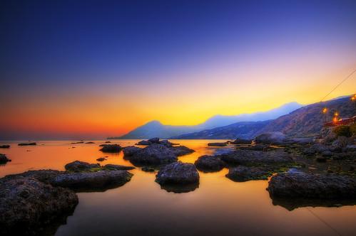 フリー画像| 自然風景| 海岸の風景| 海の風景| 夕日/夕焼け/夕暮れ| ギリシャ風景|      フリー素材|