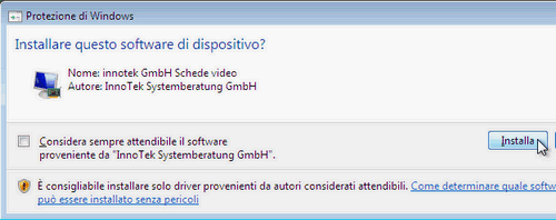 Fig. 6 - installazione VirtualBox Guest Addition in Windows Vista - driver scheda video
