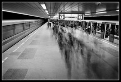 Moving people (FotoBob#) Tags: longexposure bw subway prague metro praha peopleschoice budjovick supershot pentaxmz5n abigfave anawesomeshot diamondclassphotographer soulsresonance thegoldenmermaid