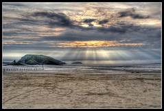 Brean down sunset (Roger.C) Tags: ocean sunset sun beach water clouds island sand dramatic rays hdr weston brean steepholme 3exp mywinners ysplix thegoldenmermaid