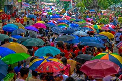 RGB  red,green,blue (jerrylimlee/ pls visit: 500px.com/kiakka64) Tags: blue red people green colors beauty umbrella fiesta group vivid parade procession umbrellas bicol penafrancia irresistible nagacity supershot toxiccolors aquality aplusphoto agradephoto irresistiblebeauty