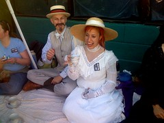 Prim Queer Tea Party at the Folsom Faire (colinaut) Tags: vintage costume slim dress tea formal moustache fsf teaparty folsomstreetfair iphone folsomstreet strawboater sfslim niferfahrion fsf2007 folsomstreetfair2007 primqueertea