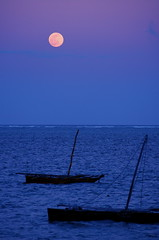 Moon Over Mombasa (The Wandering Angel) Tags: ocean travel moon beach water night boats poetry kenya mombasa peopleschoice bamburi aplusphoto