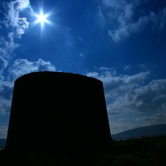 light and dark (limerickdoyle) Tags: blue ireland shadow sea sky sun tower history clouds bluesky burren defence martello countyclare martellotower westofireland efs1785mm canon400d cokinp122 navaldefence