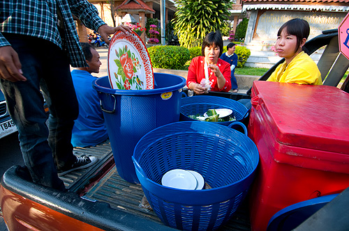Getting ready to distribute khao ya koo, sweet sticky rice, on the streets of Mae Hong Son
