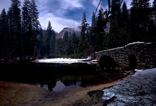 Yosemite Falls and Merced by moonlight