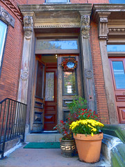 South End Doorway (brooksbos) Tags: city flowers red urban green fall yellow boston architecture geotagged ma photography photo sony newengland cybershot historic doorway bostonma southend sonycybershot bostonist bay masschusetts south lurvely back 02116 end thatsboston dschx5v hx5v brooksbos