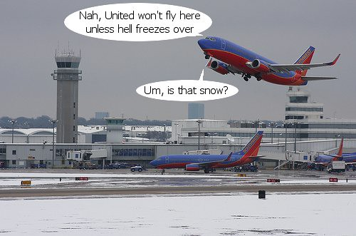 Southwest Airlines Dallas Love Field Snow