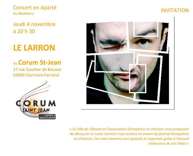 Concert en Aparté de LE LARRON au Corum st Jean le 4/11