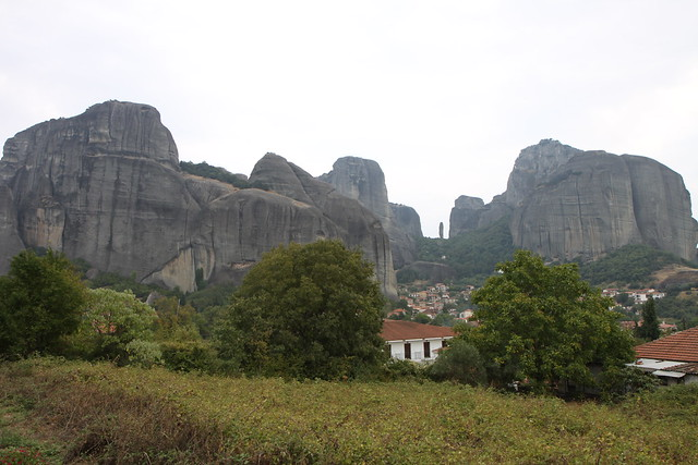 View rock towers of Meteora from Doupiani House