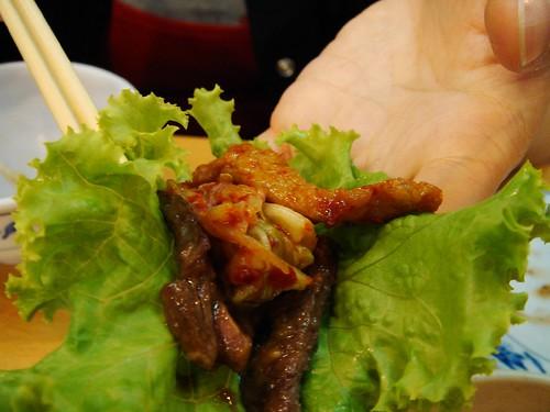 青菜包一口牛肉