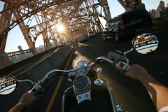 (sgoralnick) Tags: nyc bridge newyork vimeo ride arms mirrors motorcycle gothamist phillip queensborobridge goldenhour phillipckim