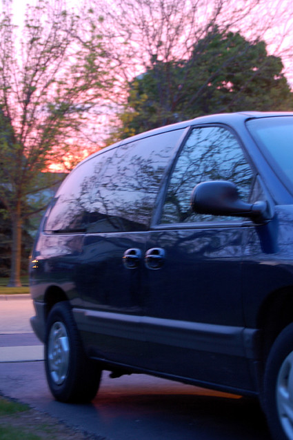 pink sunset sky reflection tree minivan dodgegrandcaravan