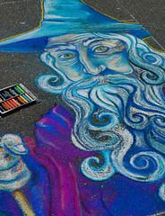 Street Wizard (matthewblakepowers) Tags: street blue white art festival chalk eyes purple drawing wizard raleighnc matthewblakepowers