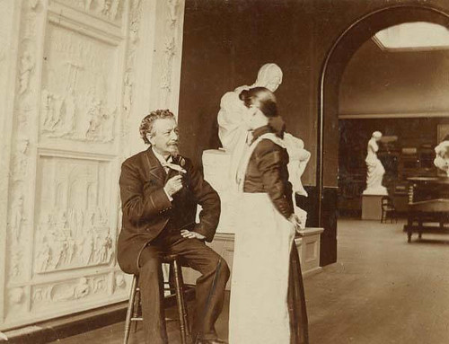 Professor Van Ingen and a student in the Hall of Casts