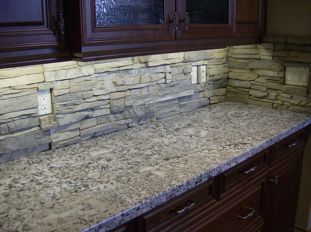 alderwood stack stone backsplash. eldorado stack stone