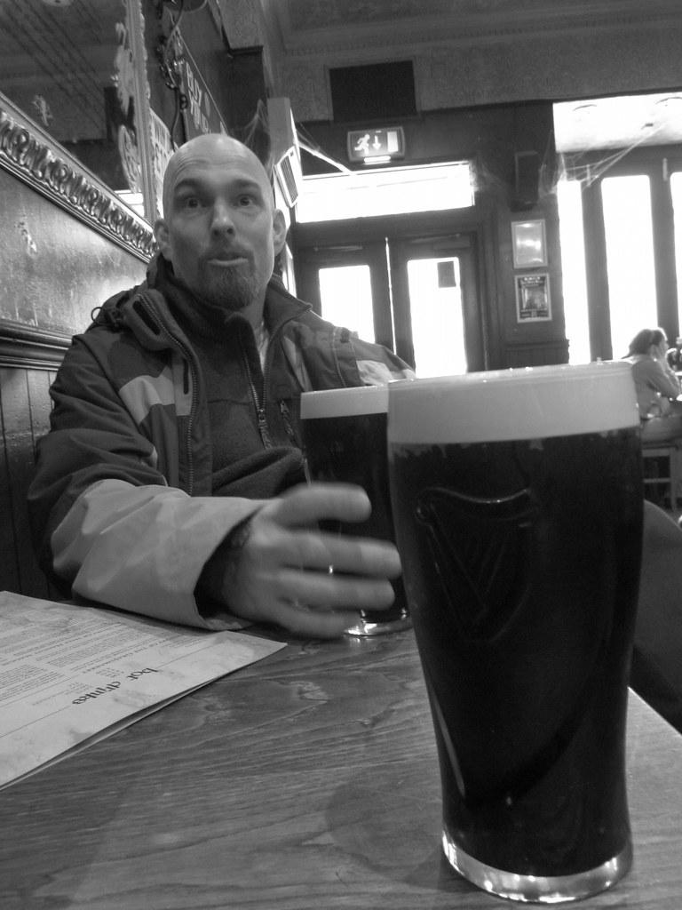 Having a few pints at Maggie Dickson's Pub