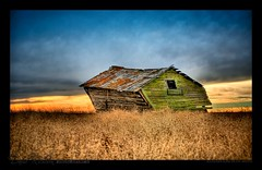 old colours along the 570 (David Richeson) Tags: old sunset colors field barn sidebar saturated farm wheat colorphotoaward impressedbeauty