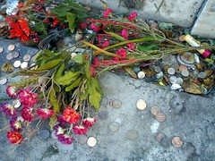 Flowers and pennies, Marie Laveau's tomb 10, St Louis I cemetery, New Orleans, Louisiana.jpg.JPG (gruntzooki) Tags: usa graveyard louisiana decay neworleans stlouis nola marielaveau boneyard voodoo neilsbirthday neilgaiman vodun stlouisi neilhimself